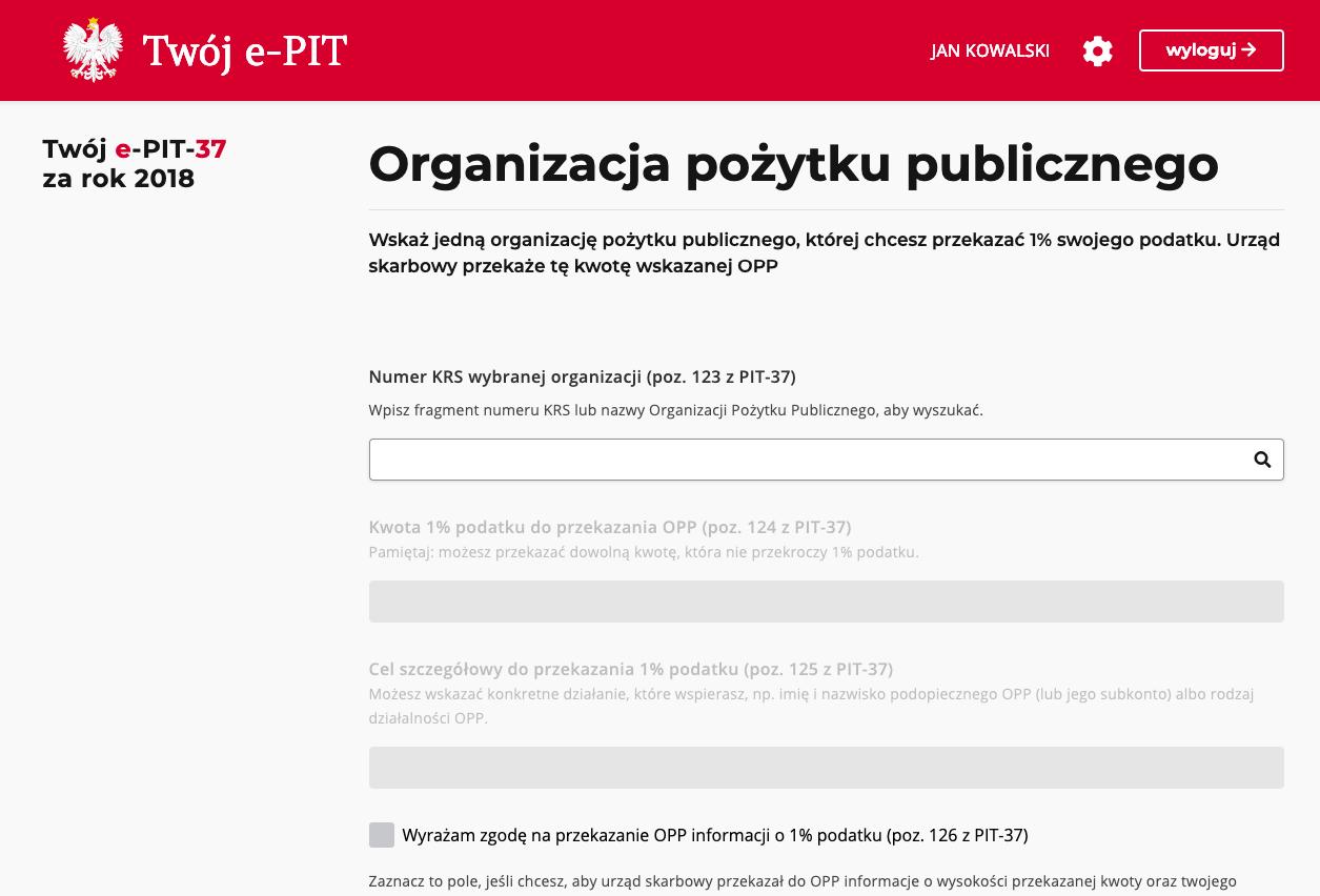1 procent podatku e-PIT